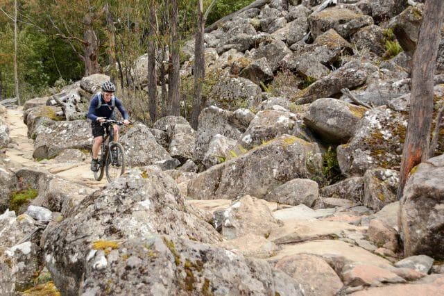 The rocks take some momentum to get over, but they're not the type to spit you off line or make you feel unstable on the bike.