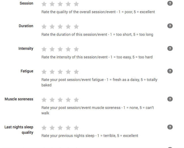 As you complete and upload each session, you're prompted to offer some feedback about how you're feeling. This is used to shape your future sessions.