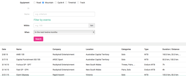 Select an event from the database as the basis for your plan, or go for a completely custom option.