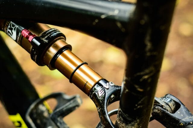 The Evo linkage and the red Autosag valve: it's Specialized's way of encouraging riders to get more out of their rear suspension.