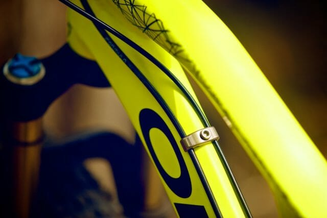 The Orbea uses a very neat mix of internal and external cable routing. It's all rattle-free and easy to work on.