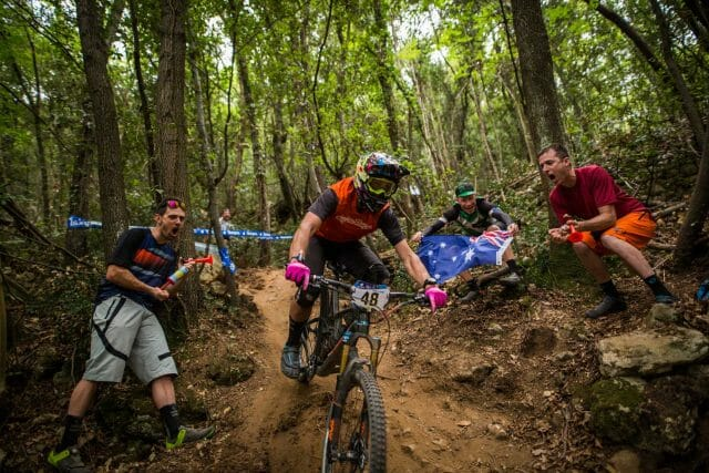 Giving Aussie Enduro Champ, Chris Panozzo, some loud (distracting) support.