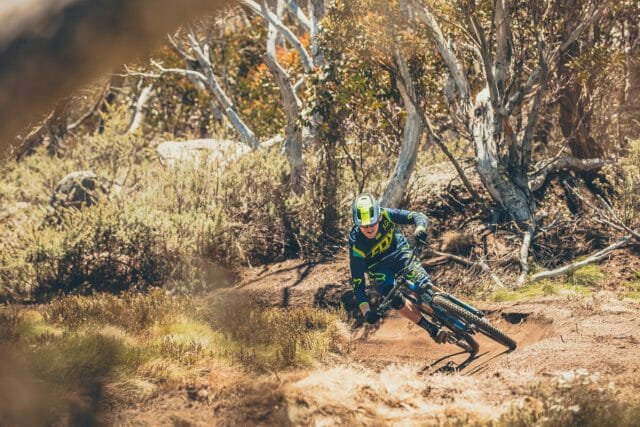 Tipping the Firebird into another perfect Thredbo berm.