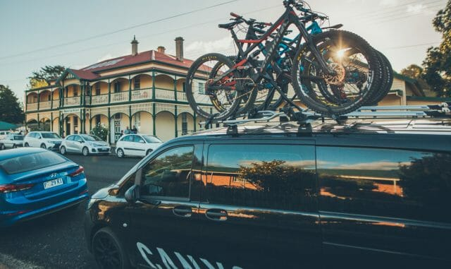 Carbon bikes from Germany outside a classic Tassie pub, who would have thought this would happen?