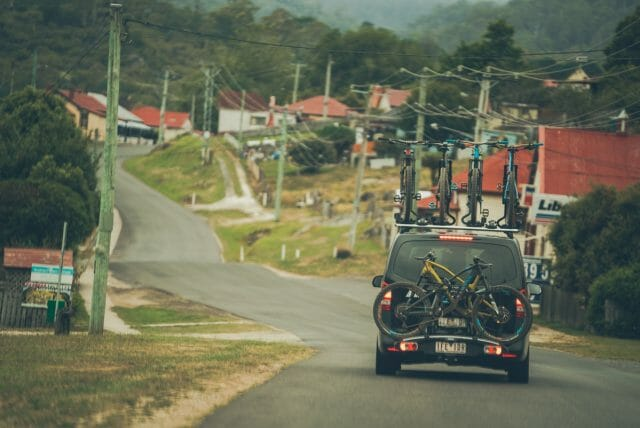 They see us rollin, the stealth Canyon van dripping with Canyon carbon mountain bikes.