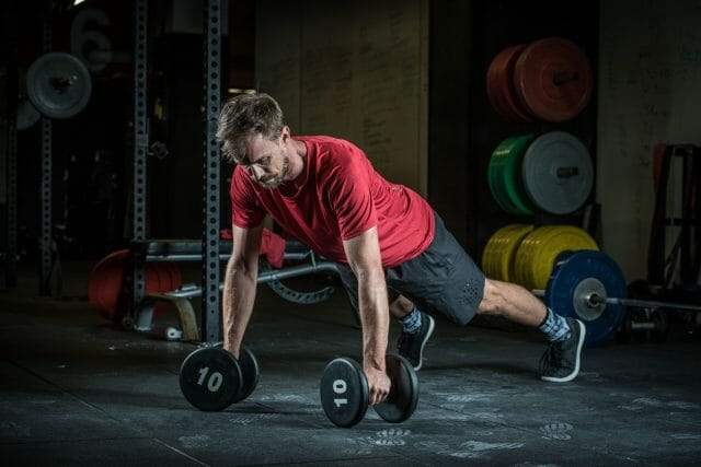 Push up row with weights are are an important downhill and enduro training technique