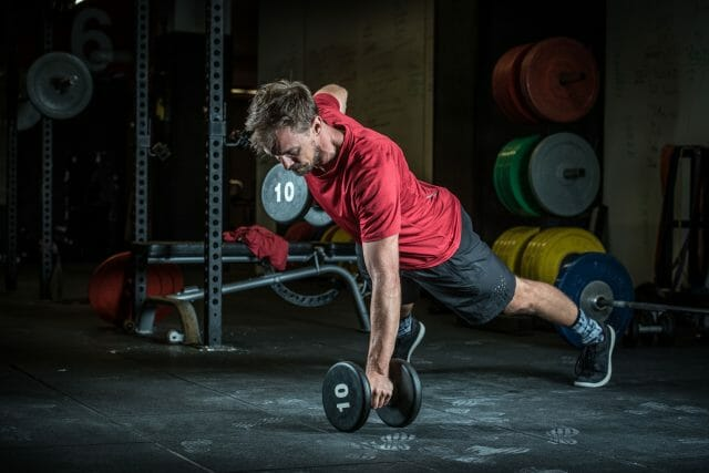 Mathias performs a dumbell row