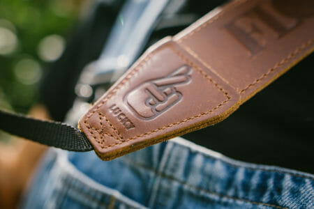 flow lucky leather camera strap