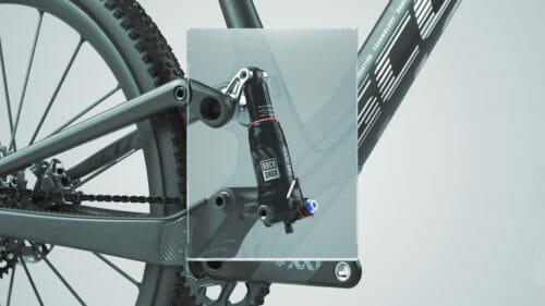 2022 scott spark rear shock is housed within the seattube