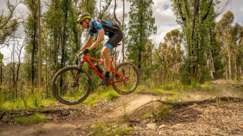 Rider jumps in Mogo state forest